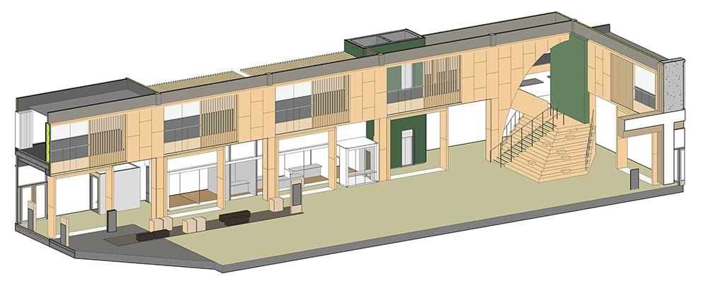 Stadsmiljöhusets detaljbild från Lahdelma & Mahlamäki.