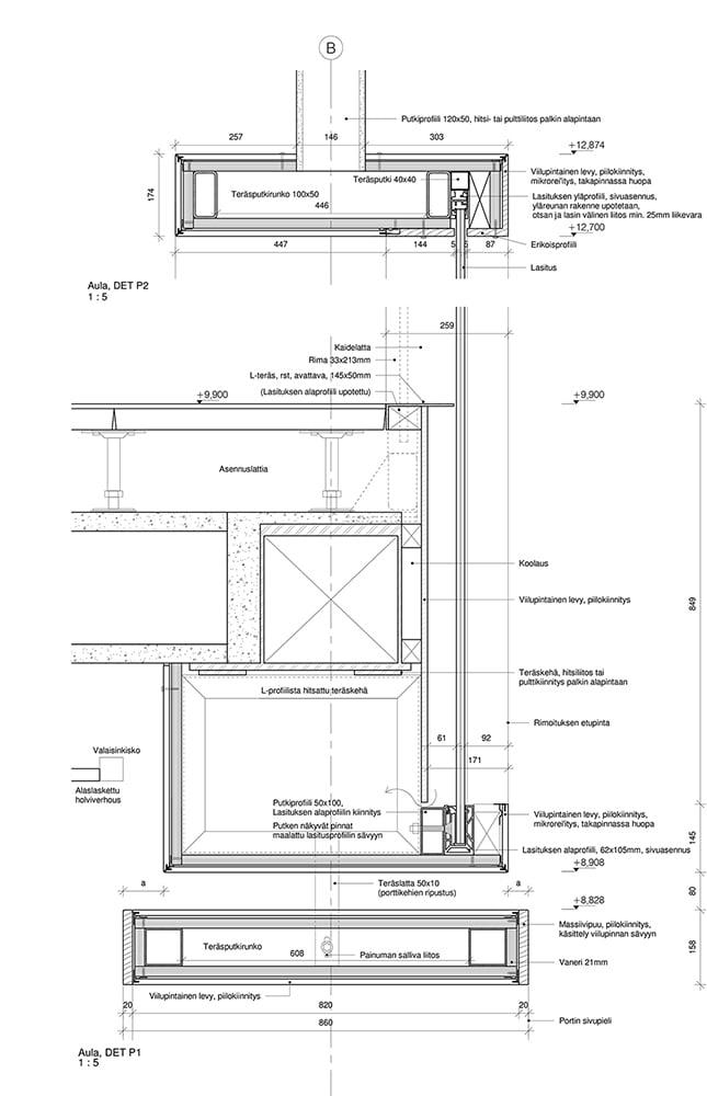 Stadsmiljöhusets xxact detaljbild från Lahdelma & Mahlamäki